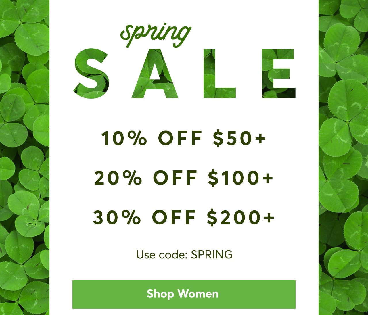 Spring Sale: 10% off $50+, 20% off $100+, 30% off $200 with code SPRING. Shop Women
