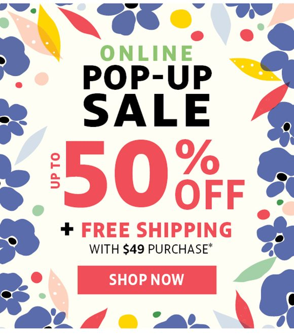 pop up sale - up to 50% off