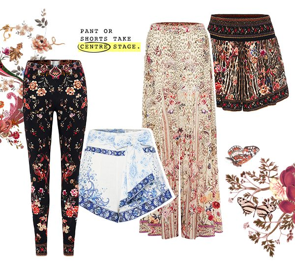 """""""Pant or shorts take centre stage"""" CAMILLA legging, shorts, and flared pants in floral prints"""