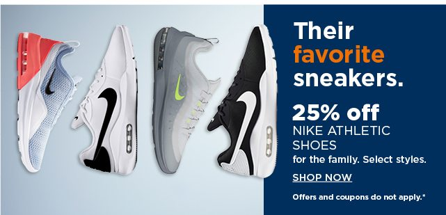 25% off nike athletic shoes for the family. shop now.