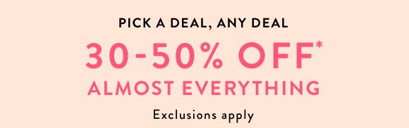 a26d74be3d9  30-50% off select full-price styles offer valid through Sunday
