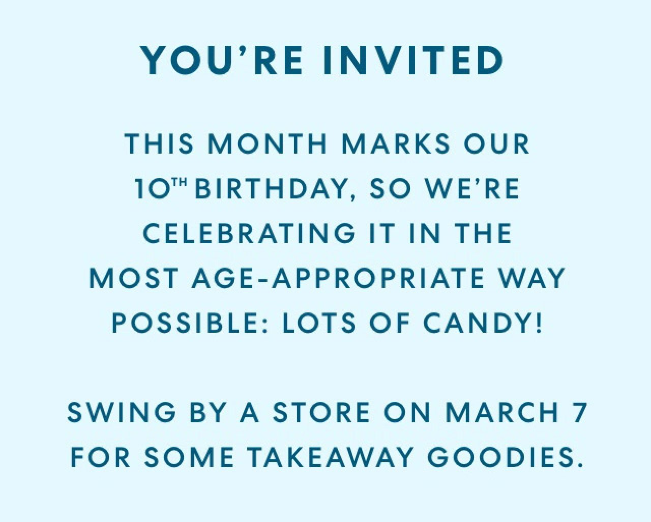 Swing by a store on March 7