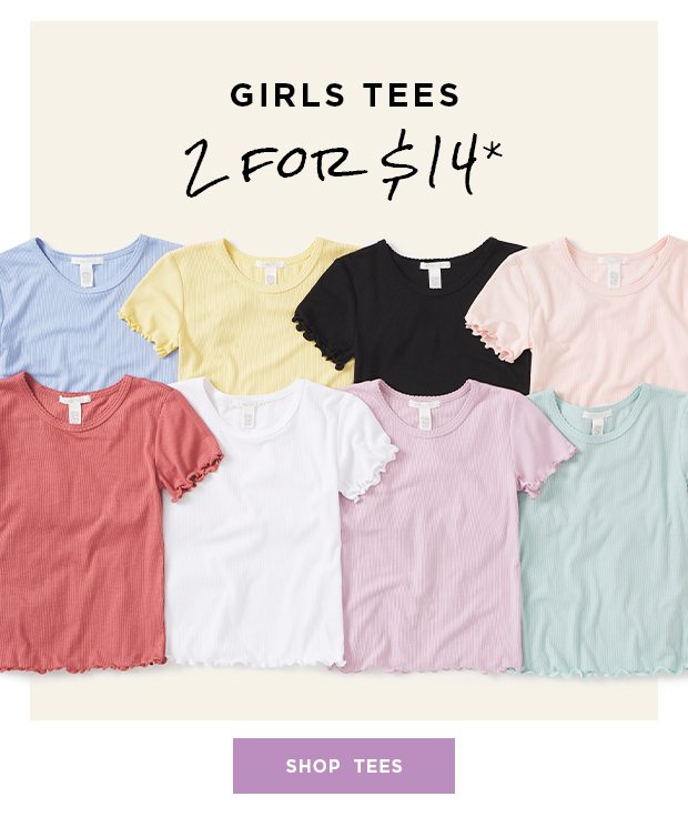Shop Girls Tees 2 for $14*