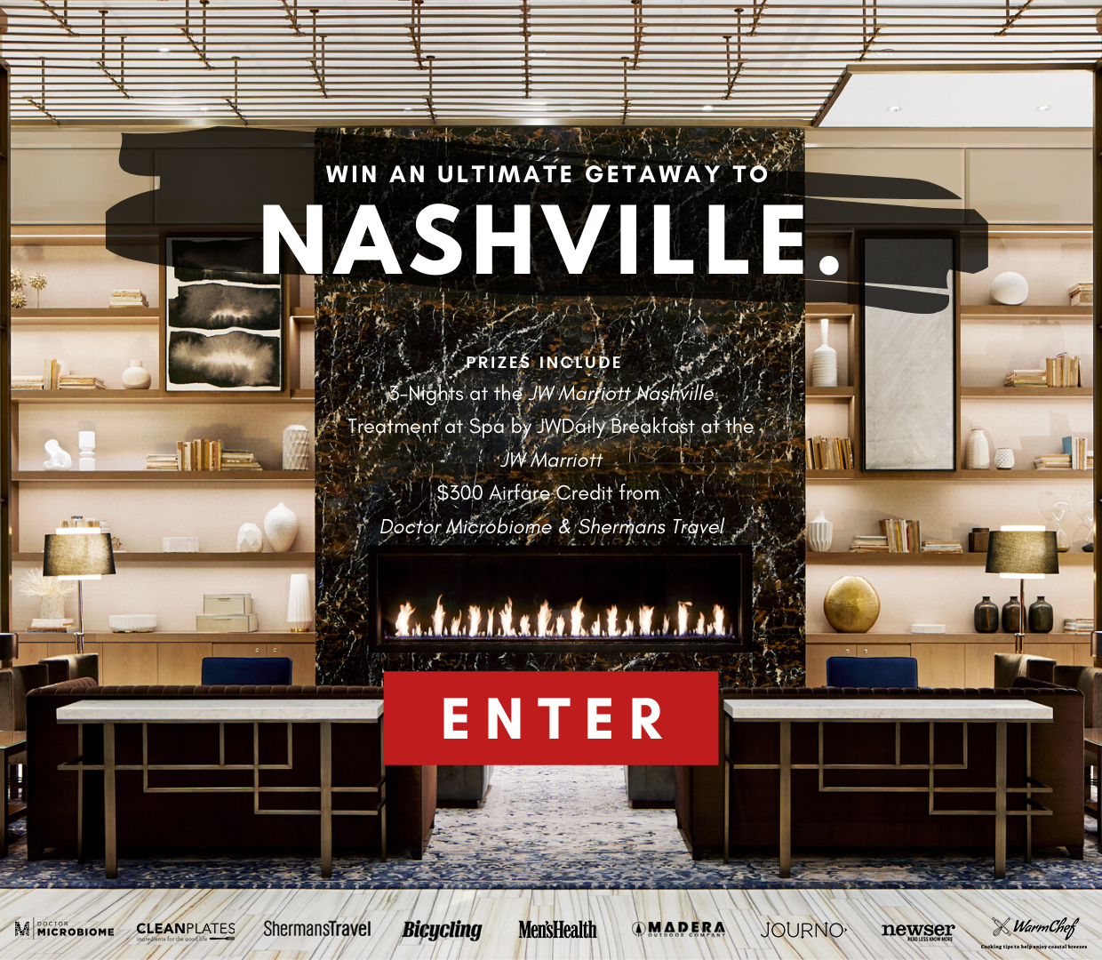 Enter for a chance to win: Three nights at the JW Marriott Nashville, a spa treatment at Spa by JW, daily Breakfast at the JW Marriott, and $300 Airfare Credit (total) from Doctor Microbiome and Shermans Travel. Enter now!