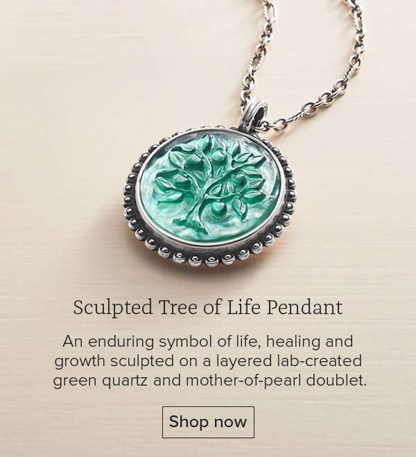 Sculpted Tree of Life Pendant - An enduring symbol of life, healing and growth sculpted on a layered lab-created green quartz and mother-of-pearl doublet. Shop now