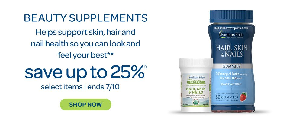 Beauty supplements - Helps support skin, hair and nail health so you can look and feel your best.** Save up to 25%Δ on select items. Ends 7/10. Shop now.