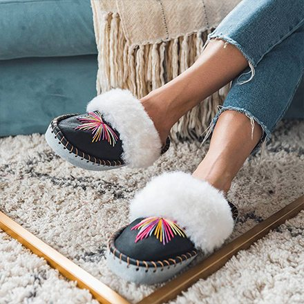 The Rainbow Sheepers Mule Slippers