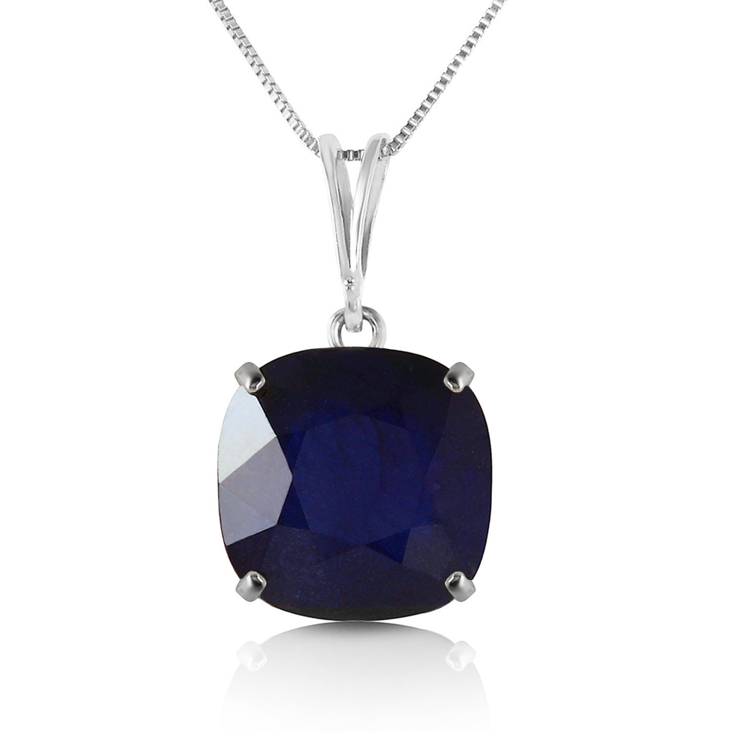 Image of 4.83 CTW 14K Solid White Gold Necklace Cushion Shape Sapphire