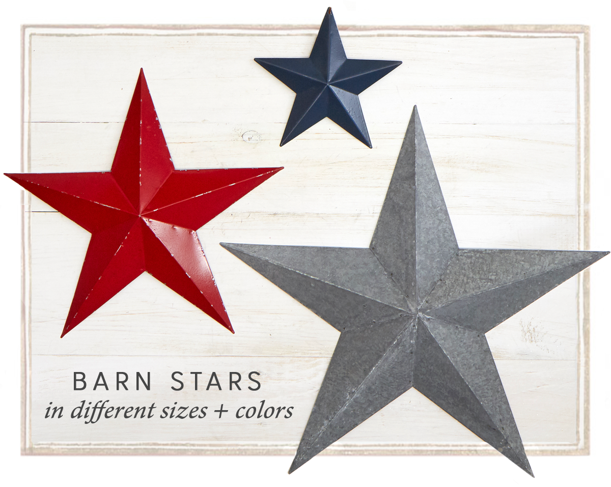 Barn Stars in different sizes + colors