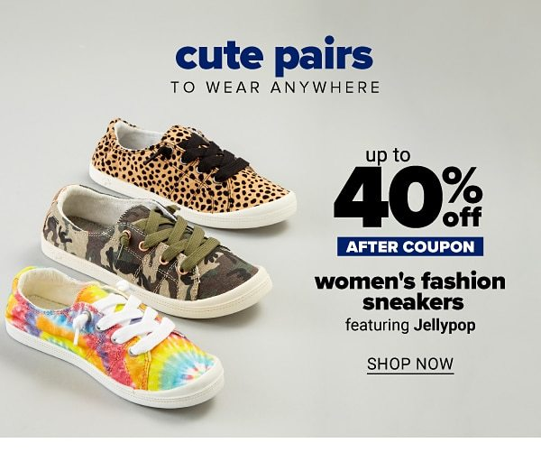 Cute pairs to wear anywhere - Up to 50% off women's fashion sneakers - after coupon - featuring Jellypop. Shop Now.