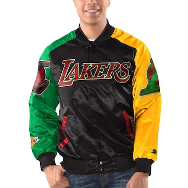 Los Angeles Lakers Starter x Ty Mopkins Satin Full-Snap Jacket - Black/Red