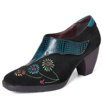 SOCOFY Embroidery Leather Pumps