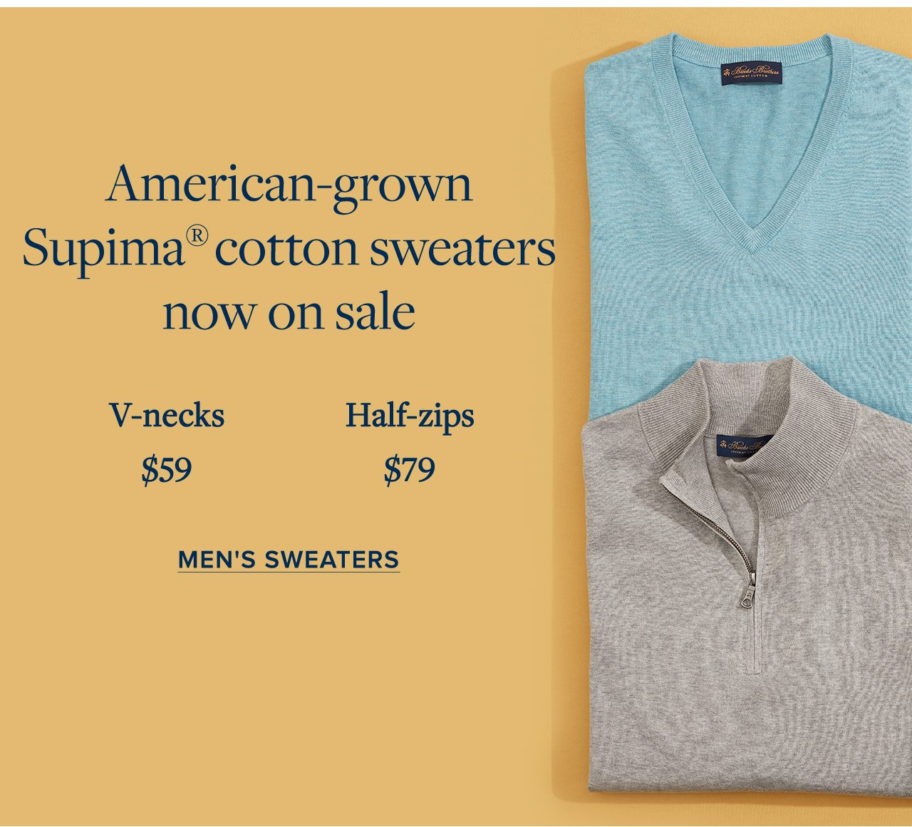 American-grown Supima cotton sweaters now on sale. Men's Sweaters