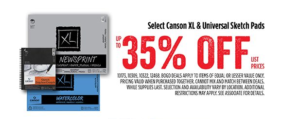 Select Canson XL & Universal Sketch Pads - up to 35% off list prices