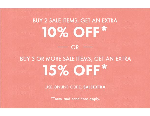 Buy 2 items on sale, get an extra 10%