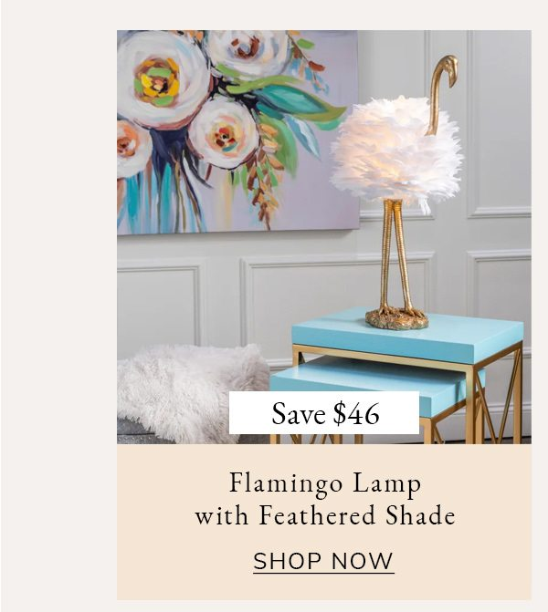 Pearl Gold Flamingo Table Lamp with Feathered Shade   SHOP NOW