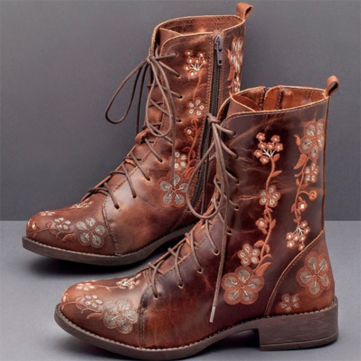 Retro Flowers Embroidered Mid Calf Boots