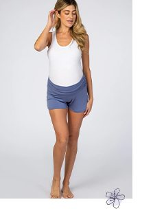 Shop The Blue Ruched Side Maternity Lounge Shorts
