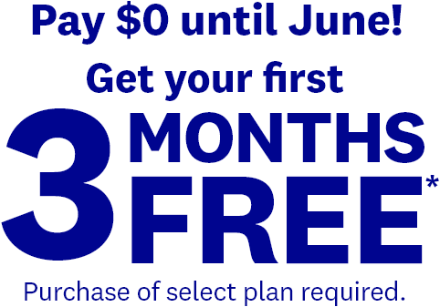 Pay $0 until June! Get your first 3 MONTHS FREE* Purchase of select plan required.