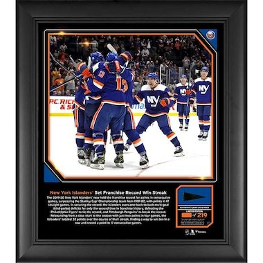 """New York Islanders Fanatics Authentic Framed 15"""" x 17"""" Franchise Record Point Streak Collage with a Piece of Game-Used Puck from the Streak - Limited Edition of 219"""
