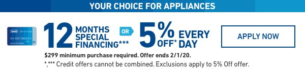 YOUR CHOICE FOR APPLIANCES: 5 percent OFF EVERY DAY OR LIMITED-TIME 12 MONTHS SPECIAL FINANCING.