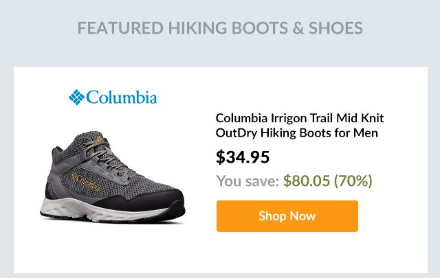Columbia Irrigon Trail Mid Knit OutDry Hiking Boots for Men