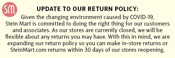update to our return policy
