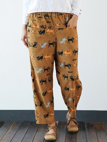 Corduroy Cute Cat Print Pockets Pants