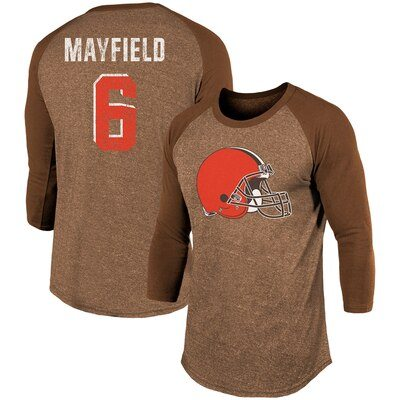 Baker Mayfield Cleveland Browns Majestic Threads Player Name & Number Tri-Blend 3/4-Sleeve Raglan T-Shirt - Brown
