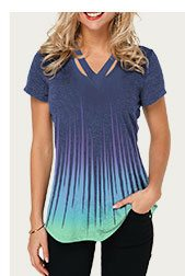 Dazzle Color Cutout Neckline Short Sleeve T Shirt