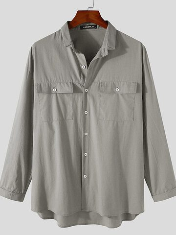 Plus Size Solid Double Pocket Shirts