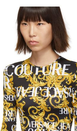 Versace Jeans Couture - Black & Yellow Baroque Logo Bodysuit