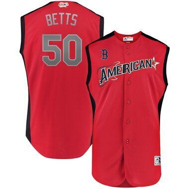 Mookie Betts American League Majestic 2019 MLB All-Star Game Workout Player Jersey - Red