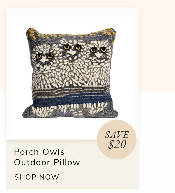 Front Porch Owls in Natural Outdoor Polyester Pillow | SHOP NOW
