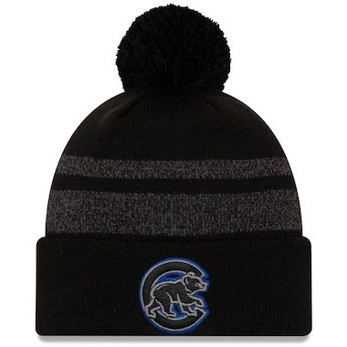 Chicago Cubs New Era Dispatch Cuffed Knit Hat With Pom - Black