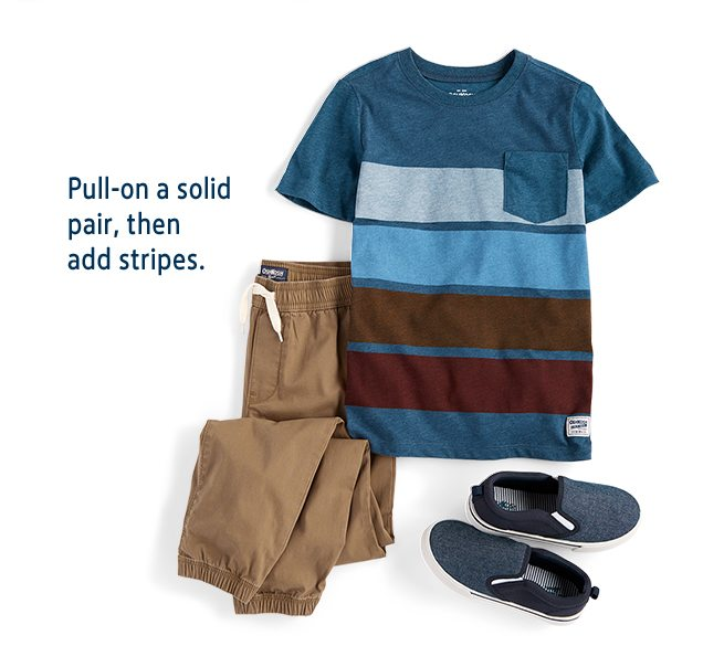 Pull-on a solid pair, then add stripes.