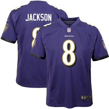 Nike Lamar Jackson Baltimore Ravens Youth Purple Game Jersey