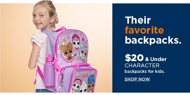 $20 and under character backpacks for kids. shop now.