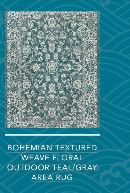 Bohemian Textured Weave Floral Outdoor Teal/Gray Rug: 3' x 5' Area Rug   SHOP NOW