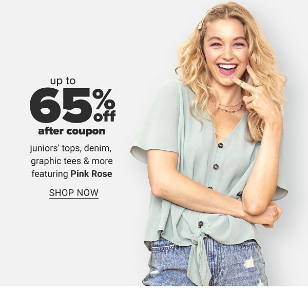 Up to 65% off after coupon juniors' tops , denim, graphic tees & more featuring Pink Rose. Shop Now.