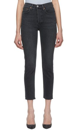Re/Done - Black Originals High-Rise Ankle Crop Jeans