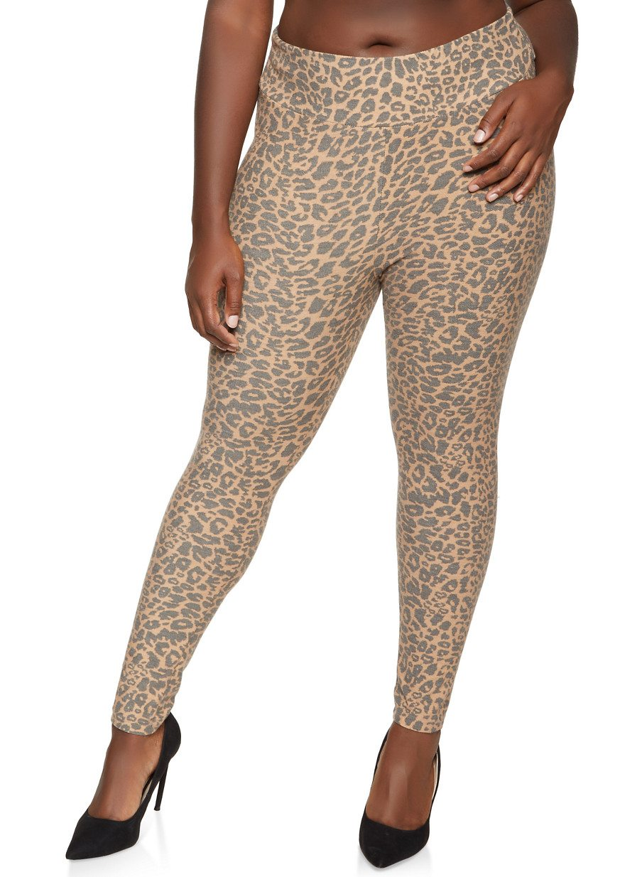 Plus Size Leopard French Terry Pants