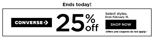 25% off Converse for the family. Offers and coupons do not apply. Shop now