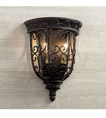 """French Scroll 14 1/4"""" High Rubbed Bronze Wall Sconce"""