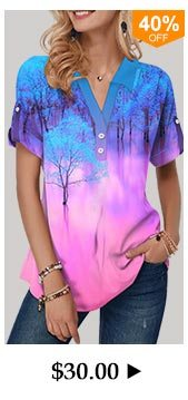 Roll Tab Sleeve Button Detail Printed Blouse