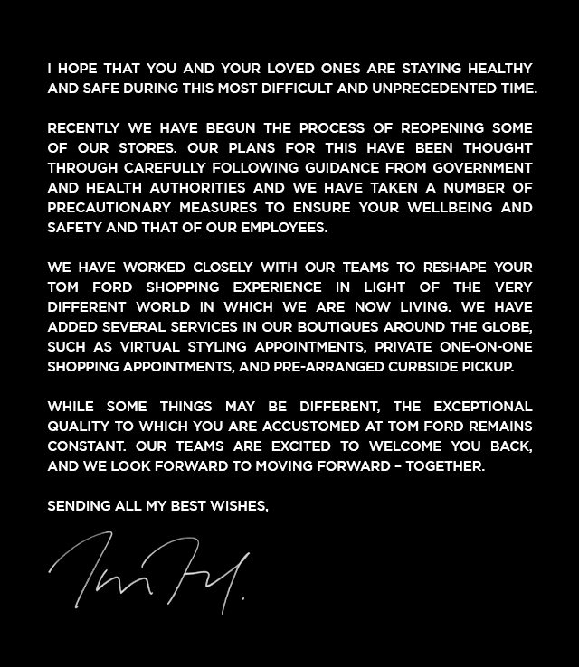 A NOTE FROM TOM FORD.