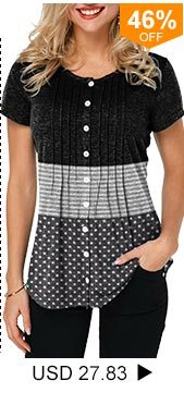 Crinkle Chest Button Up Star Print T Shirt