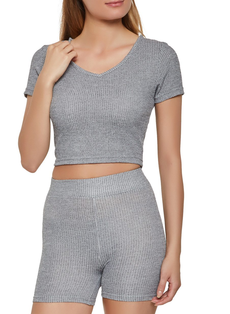 Ribbed Knit Hooded Crop Top