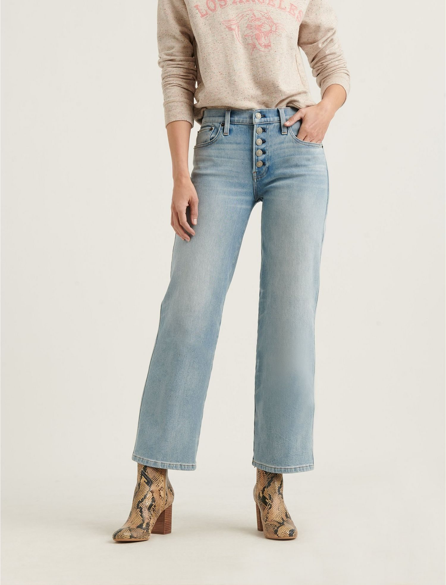 Mid Rise Crop Wide Leg 4-Way Stretch Jean