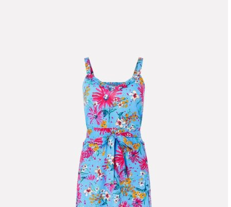 Dhana floral dress in linen and organic cotton blue